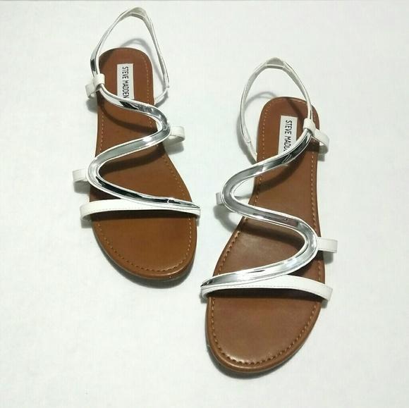 d68c7194f22 Steve Madden Baden White Silver Strappy Sandals